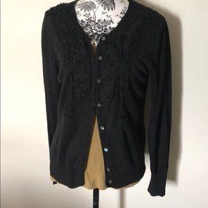 Black embellished long sleeve cardigan